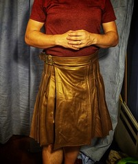 Utility kilt in old-penny bronze leather - almost done (joshua_putnam) Tags: leather steampunk sewing costuming kilt pleats pleating pleated copper bronze cosplay