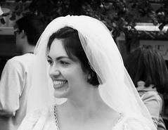 Fringe on the Mile 2018 082 (byronv2) Tags: womanandthecanvas woman girl performer actor bride bridaldress pretty beautiful portrait smile teeth dents edinburgh edimbourg edinburghfestivalfringe edinburghfringe edinburghfestivalfringe2018 edinburghfringe2018 fringe2018 royalmile oldtown blackandwhite blackwhite bw monochrome