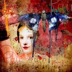 We Don't Mind the Rain (margotd2) Tags: woman glove butterfly watercolor watercolour painted rain grunge
