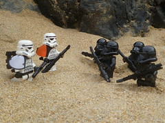 Imperial Survivors. (Working hard for high quality.) Tags: sand lego star wars death troopers stormtroopers galactic empire toy rock beach seaside imperial planet formation ground land surface area