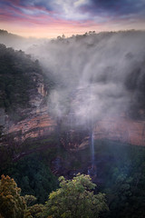 Misty Morn At Wentworth Falls || BLUE MOUNTAINS || AUSTRALIA (rhyspope) Tags: australia aussie nsw new south wales newsouthwales blue mou8ntains bluemountains rhys pope rhyspope canon 5d mkii wentworth falls waterfall mist fog cloud sunrise sunset creek stream view vista amazing jamison valley nature travel explore