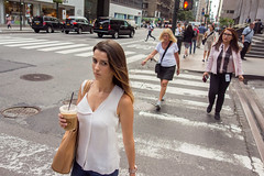 Pay Attention When Crossing. (rockerlan) Tags: sony rx100 pay attention when crossing 47 street lexington manhattan midtown candid eye contact photography photo