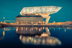 Het Havenhuis ( Antwerpen ) (vanregemoorter) Tags: antwerp colour city cityscape architecture reflection eau ville water ciel pont bâtiment