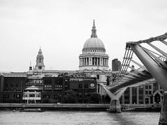 St Paul and the Millenium Bridge [1413] (my.travels) Tags: architecture london bridge millenium monochrome city building unitedkingdom england olympus penf cathedral travel