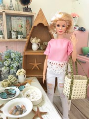 Unpacking from vacation and enjoying all the little minis that came home with me! (JunqueDollBoutique) Tags: beach memories starfish seashells seaside decor ocean store shop junquedollboutique onesixthscale playscale gracekelly barbie vacation summer