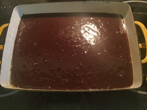 brownie mix in pan