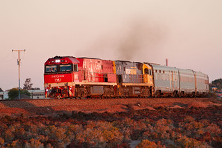 NR74 NR88 1AD8 The Ghan departing Spencer Junction Yard Port Augusta-A RAW 03 06 2018
