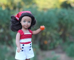 Mini Nanea plans to slice this tomato for her salad. (Crazyquilter) Tags: mininanea naneamitchell beforever amercangirl doll minidoll miniamericangirl 1941 adad tomatoes cherrytomatoes