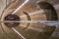 Under the bridge (karinavera) Tags: city longexposure night photography cityscape urban ilcea7m2 sunset bridge paris reflection notredame