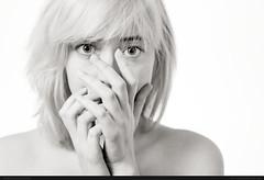 Wendigo Whack (bcud14) Tags: woman studio portrait blackandwhite monochrome light white bright highkey