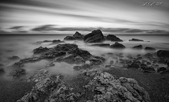 "Long Moment (""A.S.A."") Tags: chemicalbeach seaham countydurham britain coast seascape longexposure slow shutter northeast northeastcoast northsea rocks beach cloud sonya7rmkii sony2470f28gm leefilters leebigstopper nd110 neutral density blackwhite mono monochrome greyscale niksoftware silverefex asa2017"