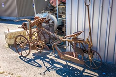 Check out this old bicycle or farm equipment.