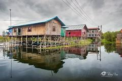Village on the river (Bobby Tran 2012) Tags: inlelake shanstates myanmar traditional travel famous favorites house tourist landscape lake morning