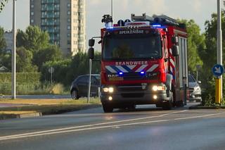 Dutch Firetruck underway to an emergency call in Spijkenisse