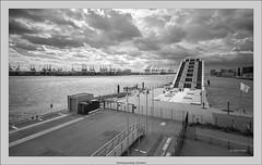 Hamburg analog: harbor and Dockland (Dierk Topp) Tags: bw brooksplaubelveriwide100 berggerpancro400 hh plaubel superangulon847mm veriwide analog architecture clouds dockland hamburg monochrom sw