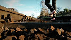 rail (marcostetter) Tags: nature barefoot jeans landscape fashion feet hiking walking railway