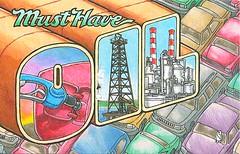 03 Cruzin (Rocky's Postcards) Tags: cars oil industry more postcard richardgeary cruzin refinery derrick largeletter gasoline fossilfuel conservation