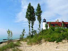 Summer Lighthouse (JamesEyeViewPhotography) Tags: pointbetsie lighthouse beach lake michigan sky clouds summer trees grass greatlakes northernmichigan water july lakemichigan landscape jameseyeviewphotography