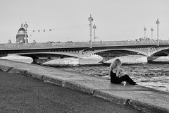 Coffee without cigarettes - Кофе без сигарет (Valery Parshin) Tags: russia saintpetersburg canoneos70d mczenitarc1250s river bridge monochrome blackandwhite stpetersburg girl