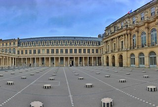 Paris France - The Colonnes de Buren in the Cour d'Honneur of the Palais-Royal