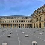 Paris France - The Colonnes de Buren in the Cour d'Honneur of the Palais-Royal thumbnail