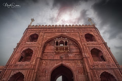 The gate (marko.erman) Tags: mosque architecture history religion india towers standstone red marble courtyard terrace perspective ciel sky specular bâtiment extérieur outdoors mosquée building islam culte cult tour arche gate entrance newdelhi jamamasjid