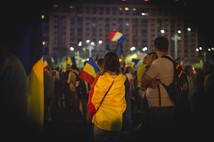 Romania protesting against corruption. Day 3. You might want to google that. (Camy487) Tags: bucharest man woman girl flag nightlife today news riot people crowd night romania protest color