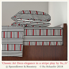 Design Challenge entry: 'Classic Art Deco elegance in a stripe play by Su_G': sheet-set mockup (Su_G) Tags: 2018 sug design designdetail classicartdecoeleganceinastripeplaybysug sheetset mockup classicartdecoeleganceinastripeplay artdeco elegant blackandoffwhite black red offwhite blackandwhiteandred stripes bauhaus afterhoffmann classic bold geometric blackredwhite cat josefhoffmann spoonflower roostery bedding bedlinen upholstery cushions