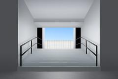 Exit (E.M.Thomas) Tags: parking garage exit steps railings walls sky nikon1424mmf28