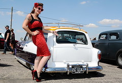 Holly_2225 (Fast an' Bulbous) Tags: classic custom car vehicle automobile hotrod american people outdoor santa pod dragstalgia pinup model girl woman hot sexy red wiggle drerss high heels stockings nylons long brunette hair