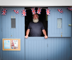 """""""Only the best for the Captains Table"""" (Livesurfcams) Tags: birdseye captainbirdseye captainstable appledore devon candid bunting unionjack doorway bluewood beard redface"""