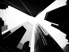 Financial District Skyline NYC (MassiveKontent) Tags: streetphotography streetshot gopro fisheye architecture geometric lines symmetry building bw contrast city monochrome urban blackandwhite street photo manhattan shadows nyc newyorkcity bwphotography skyscraper glass reflections perspective newyorkstreet newyorkcitystreet newyork midtown metropolis metropolitan america cityscape