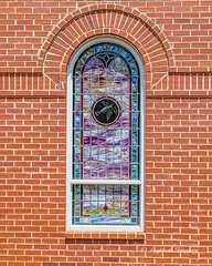 Stained Glass (augphoto) Tags: augphotoimagery architecture brick building exterior stainedglass structure window mccormick southcarolina unitedstates