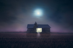 Does a full moon really change human behavior? (Night and Mood photographs from Finland) Tags: night stars field barn moon mystical colorful man flashlight misty fog clouds lunar effect nightscapes mood