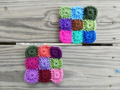 Two nine-patch one-round granny squares (crochetbug13) Tags: crochet crocheted crocheting crochetbug crochetsquares grannysquares crochetblanket crochetafghan crochetthrow