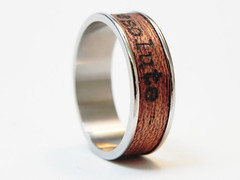 "Wood Ring ""Resolute"" : name ring, promise ring, inspirational ring - Mahagony wood and poetry Size 11 Ring, friend ring, men engagement by ResoluteStar (Resolute Star) Tags: art wood maker pentax k5 fa77 da35 typewriter poetry inspiration quote macro gift etsy resolute star diy handmade still life product photography ring name promise inspirational mahagony size 11 friend men engagement by resolutestar"
