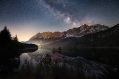 Universe (nils stefan püschel) Tags: sky stars spring galaxy universe night lake mountain trees reflection