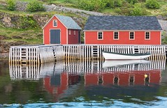 Cottage by the sea (Photosuze) Tags: buildings homes houses cottages boats reflection newfoudland canada water bay grass fences windows red