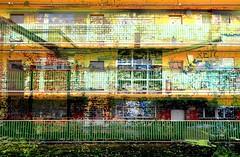 RETOURE (roberke) Tags: digitalart photomontage photoshop layers lagen textures textuur surreal fantasy creation creative creatief kleurrijk colorfull balkons balcony flatgebouw building windows ramen vensters deuren doors outdoor