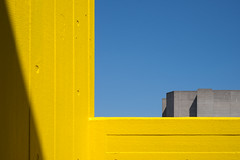 Concrete Horizons (James-Palmer) Tags: concrete london southbank britain england centre british city urban central architect architecture brutal architects brutalist cement brutalism painted yellowpaint colourful colour yellow sky bluesky buildings construct constructions stairwell cast publicbuilding 1960s 1970s engineered engineering civilengineering structure structural design designed designer lcc londoncountycouncil londonsouthbank thames horizon framed shadow shade sunlight light shadows