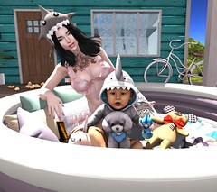 Adventures of Serena & Shark Boy (Serena Reins) Tags: confession photography secondlife poses catwa catya slink hourglass asian black bantam shark boy baby rare dear button toy poodle silly hat chez moi pool bed summer quality time cute adorable