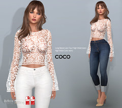 COCO New Release @Uber July 25th (cocoro Lemon) Tags: coco newrelease uber lace top jeans secondlife fashion mesh maitreya slink belleza
