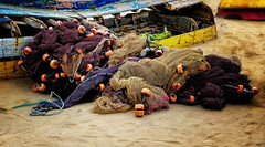 The end of the line... (vivien hopkins) Tags: boat fishing net nets cape verde beach shore wreck beached