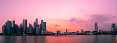 Just about to set (Thanathip Moolvong) Tags: singapore sg panorama marina mbs sunset merlion
