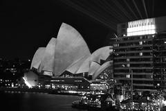 opera house (Greg Rohan) Tags: lights longexposure nightphotography nightlights laserbeams building architecture blackwhite blackandwhite bw icon sydneyoperahouse operahouse sydney monochrome d750 2018 nikon nikkor night city cityscape