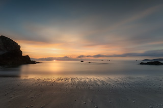 Setting Sun, Porthcotham Beach