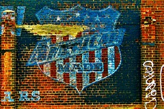 American Made (Explore!) (SCOTTS WORLD) Tags: adventure abandoned america architecture art artwork brick building brown blight detroit digital detail 313 exploring michigan midwest motown motorcity panasonic pov perspective ghostsign shield redwhiteandblue starsandstripes decay fun faded february 2018