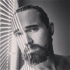 —Time will never be just right. (quepasaboy) Tags: bw blackwhite black white sad lonely selfportrait beard gel time oldman idontfeeloptimistic blinds lightbeam happysad missyou tumemanques shirtless selfie pixel2photography 2018