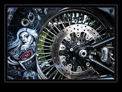 The lady on the H-D (madmtbmax) Tags: art air brush stroke kunst artistic creative bild picture skillful red motorcycle bike harley davidson us usa american car show motor chrome shineshiny luminar glow nikon d850 macro harleydavidson rose lady skull tattoo mexican wheel