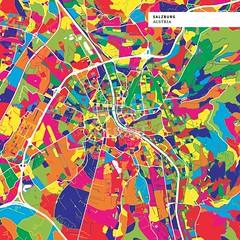 Colorful map of Salzburg, Austria (Hebstreits) Tags: area austria cartography city cityplan colorful colors design editable eps europe geography highways image infographic landmark location map marketing plan presentation region roads salzburg sightseeing street tourist travel trip urban vector